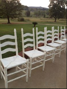 Ladder back chairs painted with Annie Sloan's Old White with clear wax by Jennifer at Now and Then Creations! Woven Dining Chairs, Outdoor Chairs, Outdoor Furniture, Outdoor Decor, Dining Room, Wood Refinishing, Annie Sloan Old White, Ladder Back Chairs, Chicago Fire
