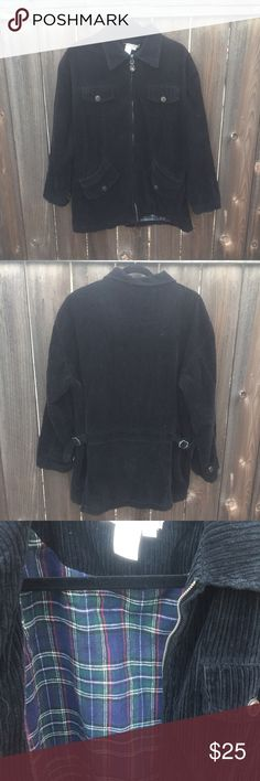 "VTG 90s BLK CORDUROY JACKET SZ M VTG 90s BLK CORDUROY JACKET SZ M- front ZIPPER FRONT POCKETS- ARMPIT TO ARMPIT 25"" FRONT LENGTH 27"" LINED IN PLAID WARM GOOD CONDITION Vintage Jackets & Coats"