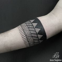 Band triangle shaped tattoo