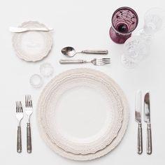 White Lace Dinnerware + Pewter Flatware + Vintage Purple/Czech Crystal/Flute Trios + Antique Crystal Salt Cellars | Casa de Perrin Design Presentation
