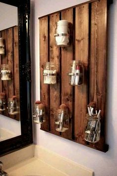 Rustic Master Bathroom with Limestone counters, Make-up storage, Ball Mason 16 oz Canning Jars, Limestone, High ceiling