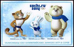 SOCHI 2014 | Mascots: Snow Leopard (leopard), Zaika (the dore hare), Bely Mishka (Polar Bear). | A souvenir sheet with three self-adhesive Russian stamps (27 February 2012).