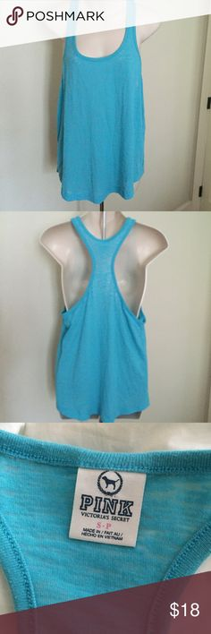 "New Victoria's Secret PINK racerback tank top Aqua This is a Victoria's Secret PINK TANK TOP. New condition. Size small. Runs big. Cotton /polyester blend. Sheer Aqua. Bust 40"" length 25"". No flaws. PINK Victoria's Secret Tops Tank Tops"