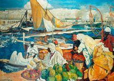 Leon Cauvy (Montpellier 1874 -- Alger 1933)   Titre « Alger la Blanche, Scène de quai, Alger »