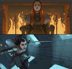 Sansa & Arya Stark, Game of Thrones, Kelsey Eng Dessin Game Of Thrones, Got Game Of Thrones, Arya Stark, Live Action, Character Art, Character Design, Game Of Thones, Fanart, Sansa