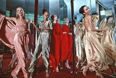 Karen Bjornsen, Alva Chinn, Connie Cook and Pat Cleveland in Halston Dresses, photographed by by Harry Benson, 1978