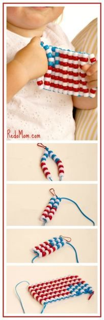 If your kids are bored of Summer here is a great craft for the 4th of July holiday! I love it because its great for developing hand eye coordination and helps kids learn to follow instructions!