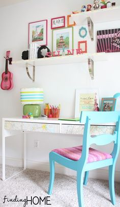 Map Desk Homework Station Washi Tape Crafts: Lamp & Shelf from Finding Home Online
