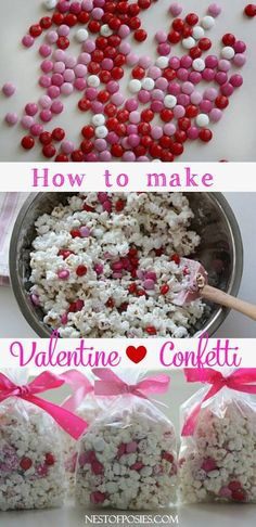 How to make Valentine Confetti Valentine Confetti Popcorn. An easy recipe for Valentine's Day treats, Snow days or any other day. This Valentine Confetti recipe is so easy to make. Valentines Day Food, My Funny Valentine, Valentine Treats, Valentines For Kids, Holiday Treats, Holiday Recipes, Valentine Party, Printable Valentine, Homemade Valentines
