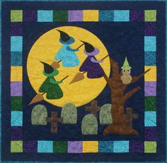 Fusible applique wall hanging for Halloween. Road Trip Quilt Pattern QA-120 by Quilting Affection - Tina & Diana Dillard.  Check out our Autumn patterns. https://www.pinterest.com/quiltwomancom/autumn-fall-patterns/  Subscribe to our mailing list for updates on new patterns and sales! https://visitor.constantcontact.com/manage/optin?v=001nInsvTYVCuDEFMt6NnF5AZm5OdNtzij2ua4k-qgFIzX6B22GyGeBWSrTG2Of_W0RDlB-QaVpNqTrhbz9y39jbLrD2dlEPkoHf_P3E6E5nBNVQNAEUs-xVA%3D%3D