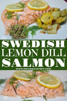 Keto Lemon Dill Salmon Recipe is homemade with salt, pepper, fresh dill, and lots of fresh lemons. The lemons make for a tasty and moist salmon. #cleaneats #salmonrecipe #ketorecipe #glutenfree