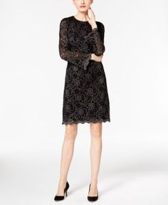 Inc International Concepts Metallic Flocked Lace Dress, Only at Macy's - Black 10