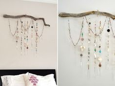 Driftwood Wind Chime - Cut seven pieces of string to desired length. Thread  beads, seashells l prisms onto the string, tie  knot at the bottom, leave  string at the top. put six small nails row into the back of driftwood. put knotted loop at the top of each strand,  hang individually on nail. Drape the last strand along the driftwood.