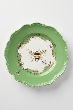 This would start my day off perfectly to eat from a natural world plate!!!  Natural World Dessert Plate, Bee #anthropologie