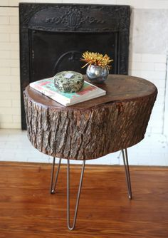 Great detailed walkthrough on making a stump end table.  Also links to great legs on Etsy.