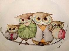 Custom watercolor owl portrait painting by ArtbySarahEngland, $120.00