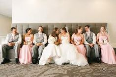 pink and gray wedding party