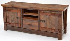 rustic entertainment center plans | Reclaimed wood entertainment center by Woodland Creek Furniture
