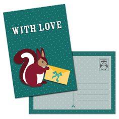 Dierendotje ansichtkaart With Love - gespot op @Oktoberdots | Babet