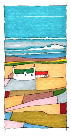 SEA AIR. A GENTLE ROLLING LANDSCAPE WITH FERTILE SOIL THAT HAS FED ISLANDERS FOR GENERATIONS. ALWAYS THE SEA AS THE BACKDROP. SKETCH DRAWING BY GLEN CRAIG.