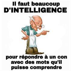 Il faut beaucoup d'intelligence pour répondre à un con avec des mots qu'il puisse comprendre ! French Meme, Words Of Encouragement, Proverbs, I Laughed, Quotations, Funny Pictures, Funny Memes, Messages, Motivation