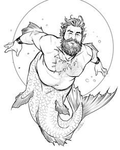 Merman by Lukas Werneck Fat Mermaid, Mermaid Man, Tatto Old, Tatoo Art, Character Inspiration, Character Art, Character Design, Fantasy Creatures, Mythical Creatures