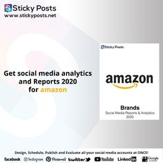 "Amazon social media analysis for 2020 Quarter one totally for FREE!  NOW you can manage all your social media accounts at once!  Sticky Posts System the most economical social media management tool all over the world now available in the Middle East & Africa!  Our Unique Services:-  - Posts Generator "" Design all your social media posts automatic""  - Automatic Scheduling "" Save time & Schedule all your social media activities in less than 10 min""  - Automatic Publishing "" You only need to… Social Media Analysis, Social Media Report, Social Media Branding, Facebook O, Social Media Management Tools, East Africa, Middle East, Schedule, Accounting"