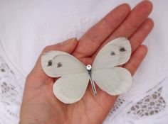 Brides Soft White silk butterfly hair clip with by flutter2me