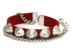 Leather and Chain Studded Wrap Bracelet with Red by WrapItSnapIt, $20.00