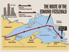 The final route of the Edmund Fitzgerald: she left Superior, Wisconsin on November 1975 bound for Detroit, Michigan, and sank at about pm the next evening, just 15 miles from the shelter of Whitefish Bay (Ontario / Michigan) Great Lakes Shipwrecks, Edmund Fitzgerald, Tanker Ship, Whitefish Bay, The Fitz, Great Lakes Ships, Lake Superior, Superior Wisconsin, Upper Peninsula