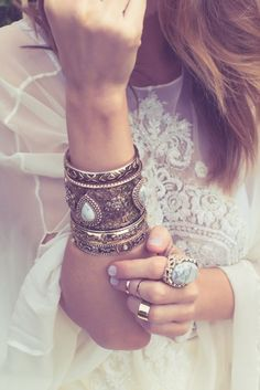 Boho jewelry // Rings, bracelet, necklace, earrings + flash tattoos // Bohemian style silver and turquoise // Bronze and Gold Jewellery // For Gypsy wanderers + Free Spirits // Samantha Wills jewellery