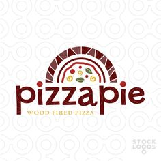 Rustic and fun logo design of a stylized wood fire stove. A Half shape pizza is created in side the wood oven.