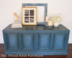 Before and after TV stand, dresser hand painted with Annie Sloan chalk paint in Aubusson blue and dark and clear wax.