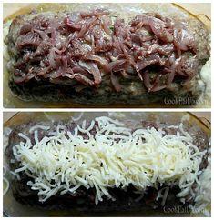 Γεμιστό ρολό με καραμελωμένα κρεμμύδια και μοτσαρέλα Grains, Bread, Rolo, Food, Breads, Baking, Sandwich Loaf