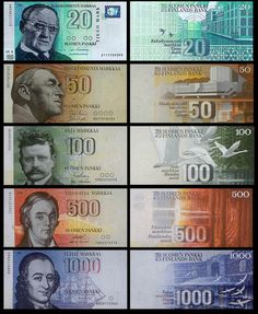 Finnish mark bills before Finland converted to the Euro Helsinki, Meanwhile In Finland, Finnish Language, Good Old Times, My Heritage, Europe, Independence Day, Childhood Memories, Scandinavian