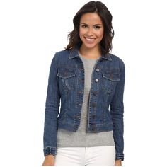 KUT from the Kloth Amelia Jacket Women's Coat ($79) ❤ liked on Polyvore featuring outerwear, jackets, distressed jean jacket, long sleeve jean jacket, straight jacket, kut from the kloth and denim jacket