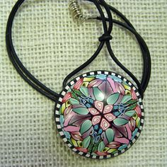OOAK Polymer Clay Kaleidoscope Cane Pendant by blossomstreetstudio, $75.00