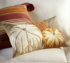 "Pumpkin Embroidered Lumbar Pillow Cover – 16x26"" cotton ($69) | Pottery Barn 2013 catalog"