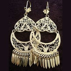 Delicate filigree scrollwork chandelier earrings handmade by sterling mexico filigree earrings mozeypictures Images