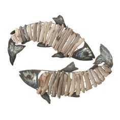 The Coast Driftwood and Tin Fish Home Wall Art Decor Aquarium Driftwood, Driftwood Fish, Driftwood Sculpture, Fish Sculpture, Fish Wall Decor, Wall Decor Set, Art Decor, Driftwood Projects, Driftwood Ideas