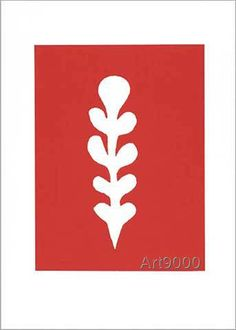 Henri Matisse - Palme blanche sur fond rouge, 1947