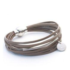 Bracelet cuir multiliens et argent                                                                                                                                                      Plus