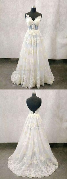 Unique v neck lace tulle long prom dress, lace evening dress