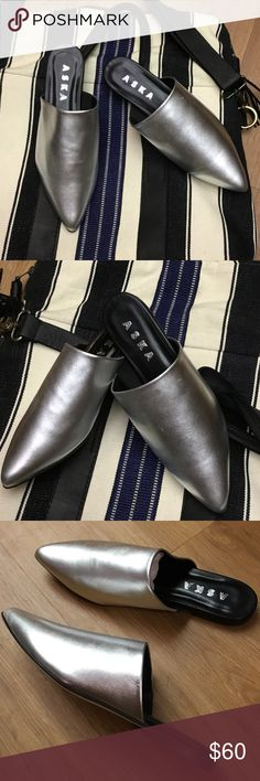 New ASKA silver lee mule  Slip On Shoes Size 38.5 New ASKA shoes made in Italy size 38.5 aska Shoes