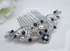 Something Blue Hair comb Art Deco Comb White by SparklyAvenue
