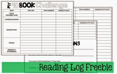 FREE 5th Grade Reading Logs for the 40 Book Challenge (The Brown Bag Teacher)