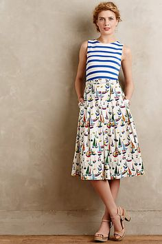 Cute skirt! This is the kin of thing I'd never be brave enough to buy, but I love the print on it! And it's longer than a traditional length. Good for classroom. Smooth Sailing Midi Skirt - anthropologie.com