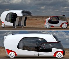 "The pin links to the list ""16 Modern and Creative Camper Trailers"". There are some awesome ideas here. Pictured is 5. Colim Caravan: ""'Colim' is short for 'colors of life in motion'. This multifunctional vehicle can be a small car when you don't need the RV and a whole RV when you actually need one."" Check out the others!"