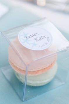 Wedding tokens for guests (instead of peach, both macarons would be mint.)   A Romantic Mint and Peach Wedding via TheELD.com