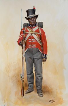 British; War of 1812 . A Black Royal Colonial Marine, by Don Troiani.  These were British Royal Marines that served in various naval operations along the American coast during the war. Blacks mostly from the Caribbean islands were recruited for this service. The model was this was actually from Jamaica.